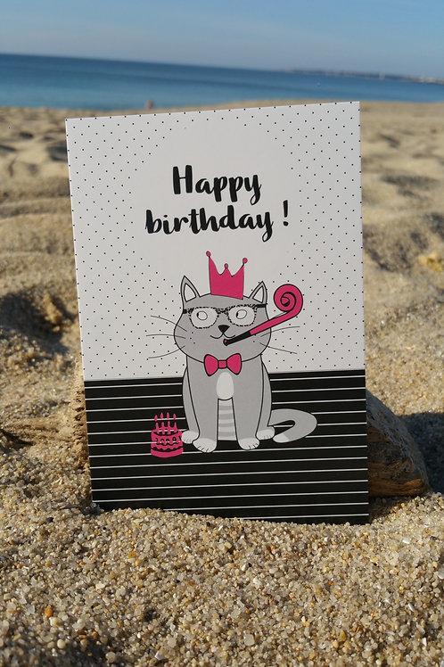 Carte cat Happy birthday
