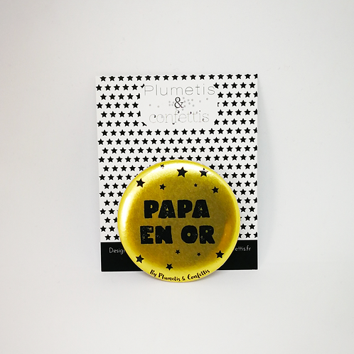 Badge Papa en or