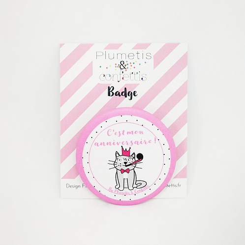 Badge anniversaire Chat