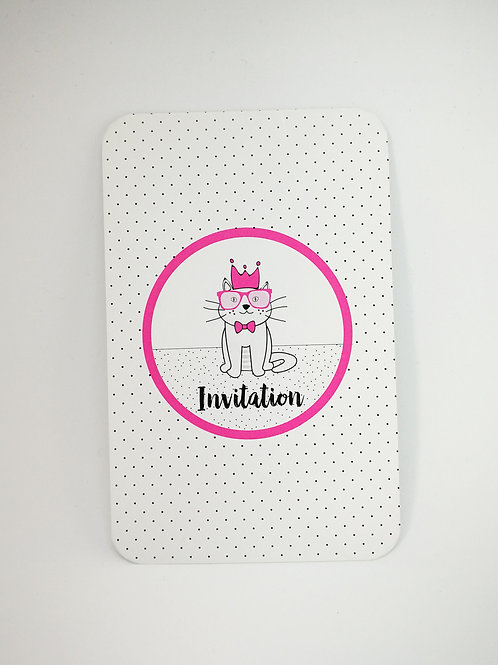 Lot de 6 invitations anniversaire Chat