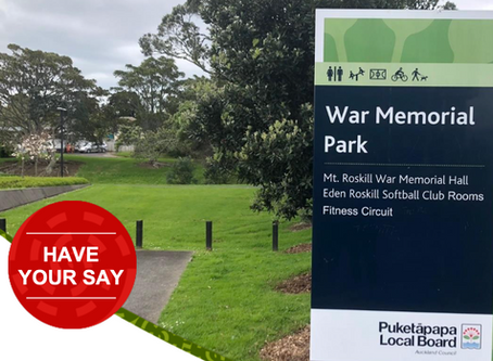 Have your say on improvements to the Mount Roskill War Memorial Park (home of the Lovelock Track)