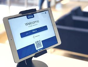 EVA kiosk on a tablet in reception