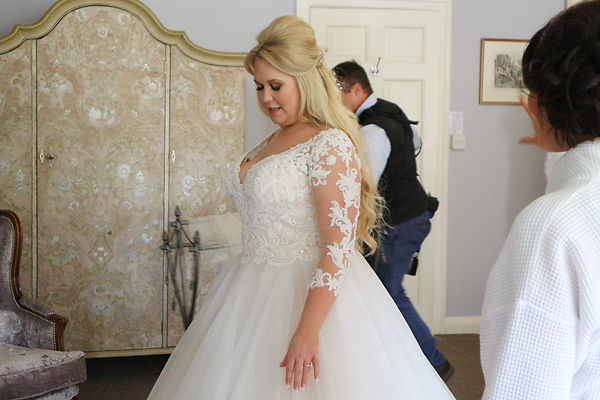 Amie looking beautiful in her princess wedding dress. Makeup was full glam with a bit of sparkle. Looked beautiful!