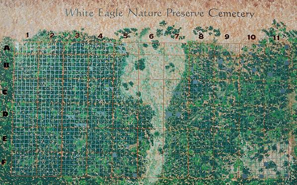 Artistic grid map of White Eagle Memorial Preserve.