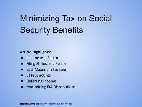 Minimizing Tax on Social Security Benefits