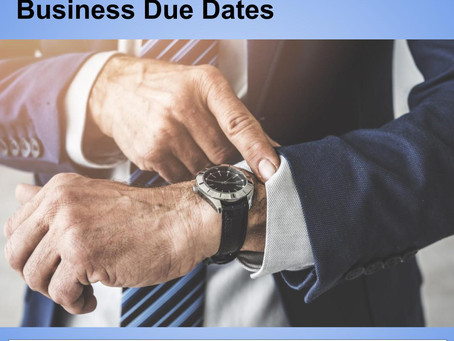September 2019 Business Due Dates