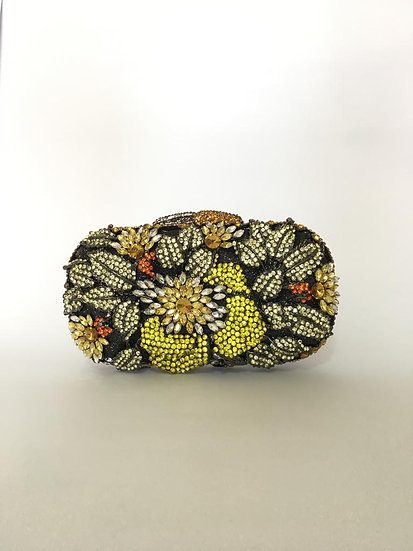 CLUTCH CRISTAIS FLOR CHATON