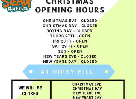 Gipsy Hill Christmas + New Year Opening Hours