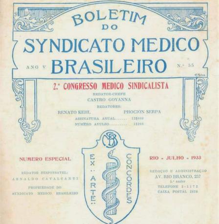 Capa do Boletim do Syndicato Médico Brasileiro, nº 55, Ano V. Rio de Janeiro, julho de 1933. Acervo MUHM