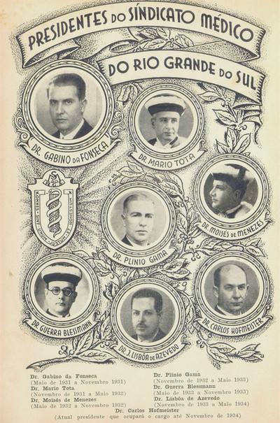 Imagem dos primeiros presidentes dos Sindicato Médico do RS