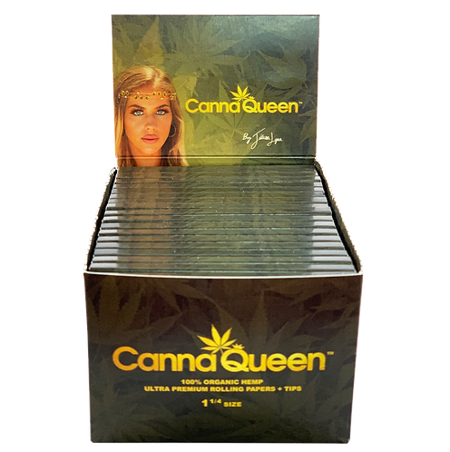 Canna Queen 1 1/4 100% Organic Hemp Rolling Papers + Tips FULL BOX