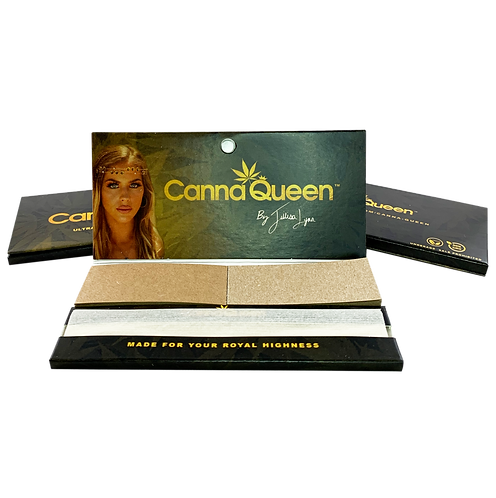 Canna Queen King Slim 100% Organic Hemp Rolling Papers + Tips 3 Pack
