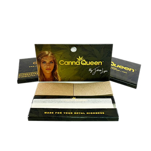 Canna Queen 1 1/4 100% Organic Hemp Rolling Papers + Tips 3 Pack
