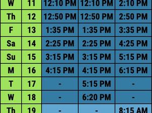 2021 Tour Departure Schedule