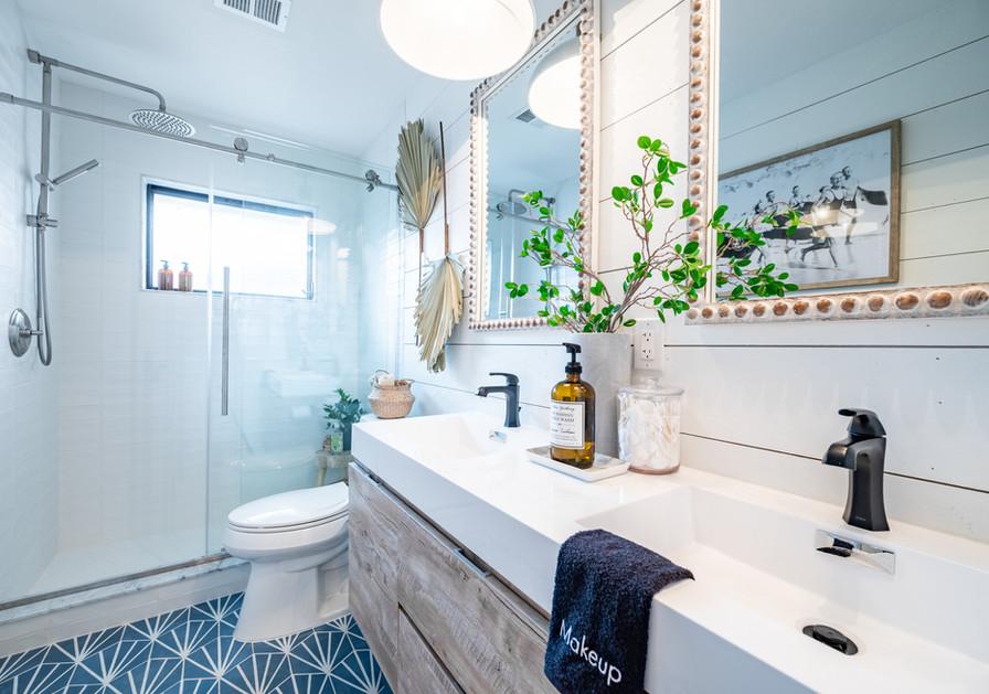 Brand-new main bathroom, July 2021.