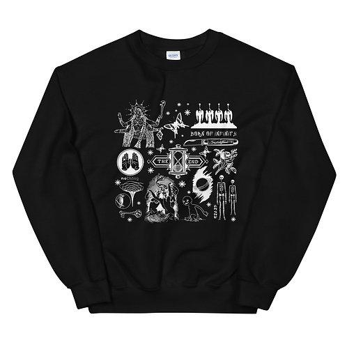 Block Collage #2   White Print   Unisex Sweatshirt