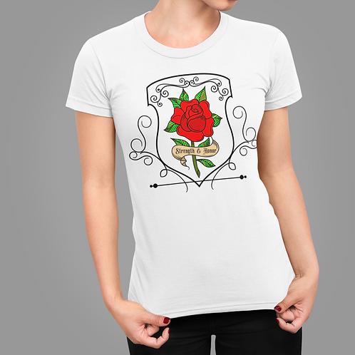 Proverbs 31:25 Scripture Red Rose Short Sleeve Women's T-Shirt