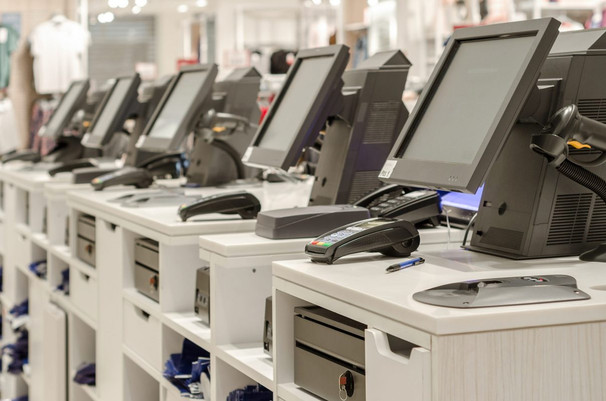 Electronic-cash-or-cashier-standing-at-t