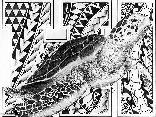 Blank Card - Tribal Honu by Mo Kalaikai