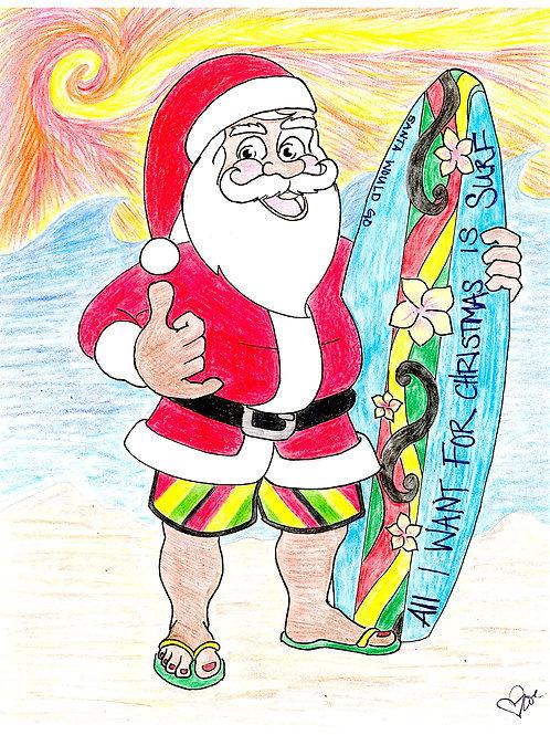 Surfboard Santa