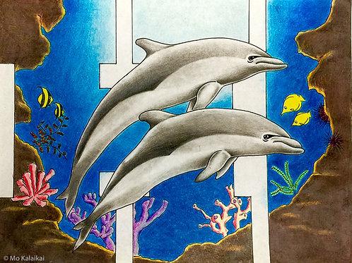 Blank Card-Hawaii Dolphins by Mo Kalaikai