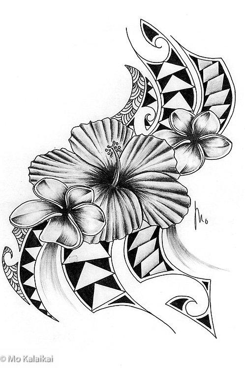 Blank Card - Tribal Hibiscus by Mo Kalaikai