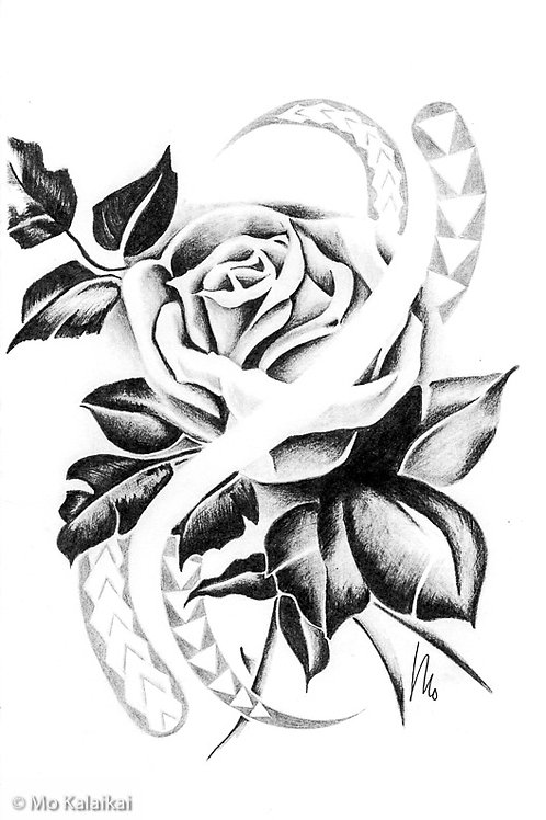 Blank Card - Tribal Rose by Mo Kalaikai