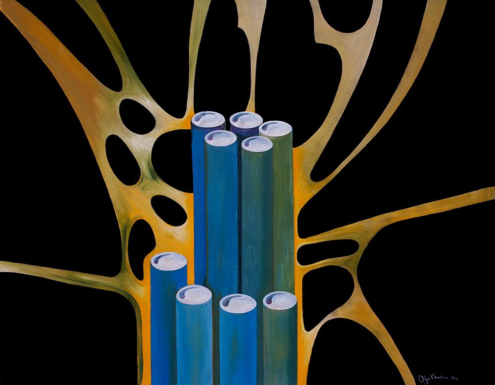blue bamboo detail