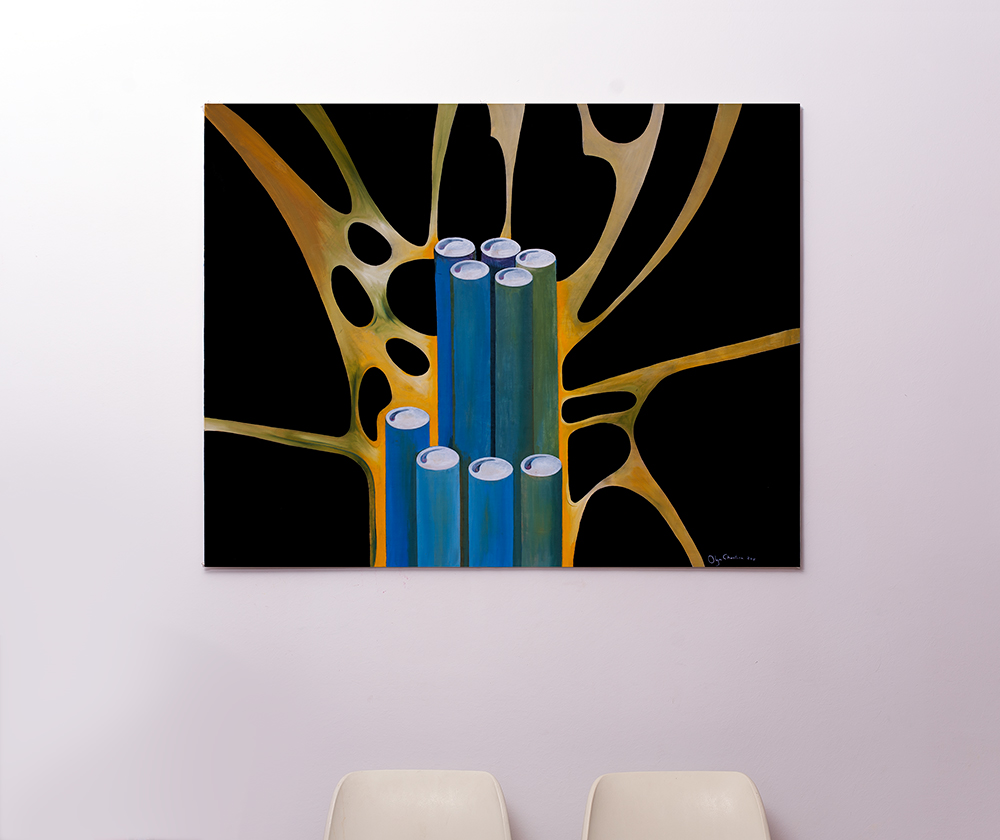 blue bamboo on the wall 1:1