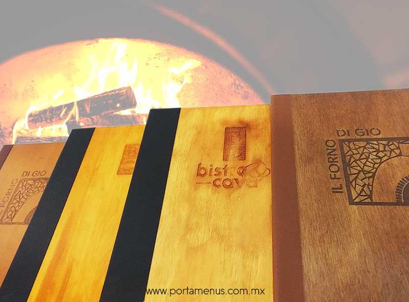 Carta Porta Menú de Madera - Restaurante  y bar