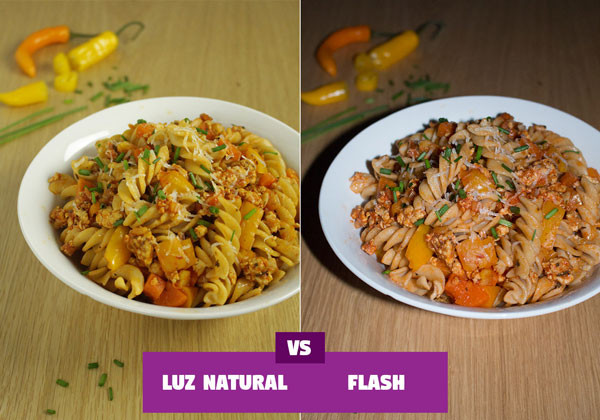 flash luz natural comparacion fotografia alimentos