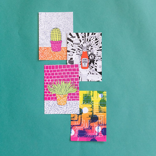 Assorted postcards by Christina Lee