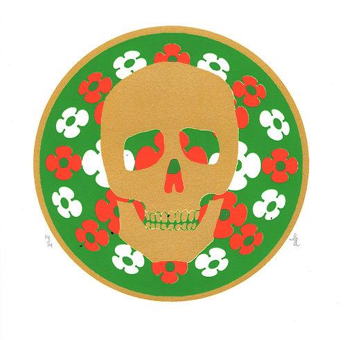 Floral Skull (Green) screen printby Ignacio Lopez