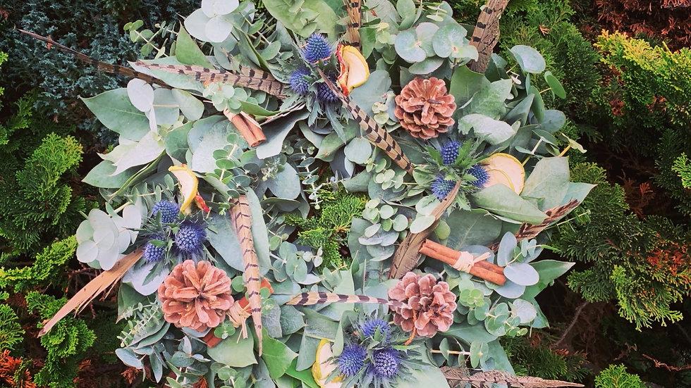 Eucalyptus, heather, thistle and Feather Wreath