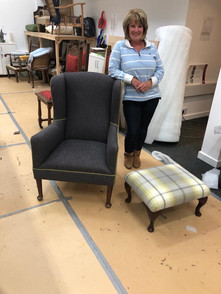 Wing chair and footstool