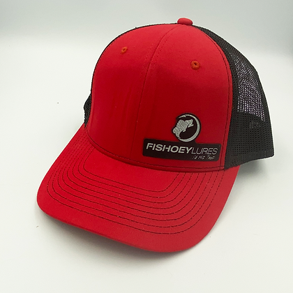 Scarlet Red / Black Trucker Style Caps - Leather Logo