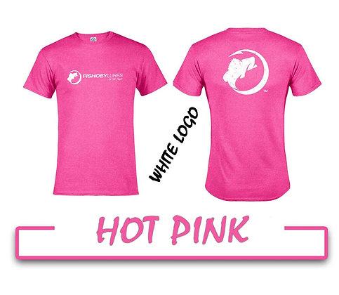 T-Shirt - Hot Pink - White Distressed Logos