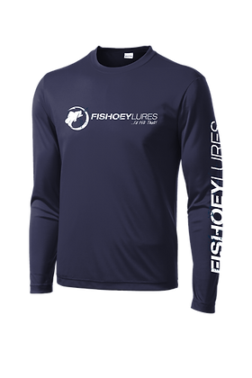Cooling Performance Dry-Fit - Long Sleeve - Navy - Distressed White Log