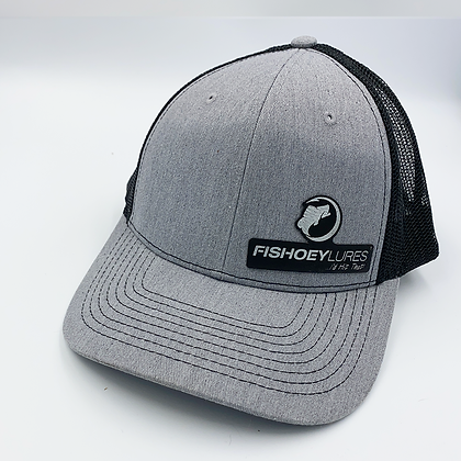 Heather Gray / Black Trucker Style Cap - Leather Logo