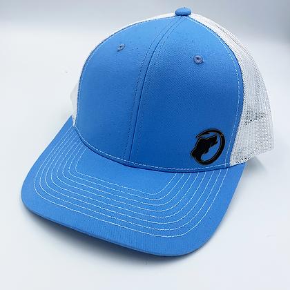 Columbian Blue / White Trucker Style Caps - Leather Logo