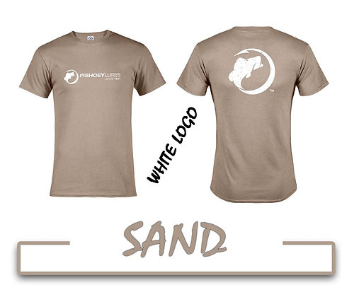 T-Shirt - Sand - White Distressed Logos