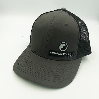 Charcoal / Black Trucker Style Cap - Leather Logo