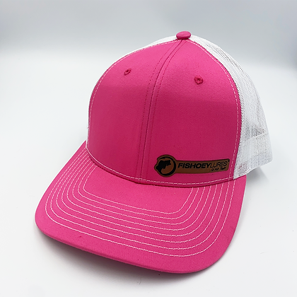 Hot Pink / White Trucker Style Caps - Leather Logo