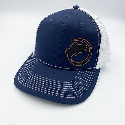 Navy / White Trucker Style Caps - Leather Logo