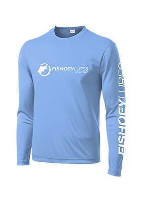 Cooling Performance Dry-Fit - Long Sleeve - Lt Blue - Distressed White Logo