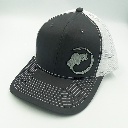Charcoal / White Trucker Style Cap - Leather Logo