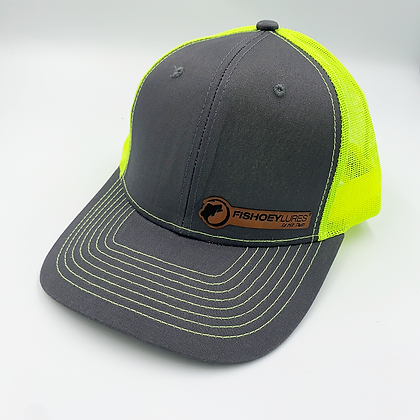 Charcoal / Safety Yellow Trucker Style Caps - Leather Logo