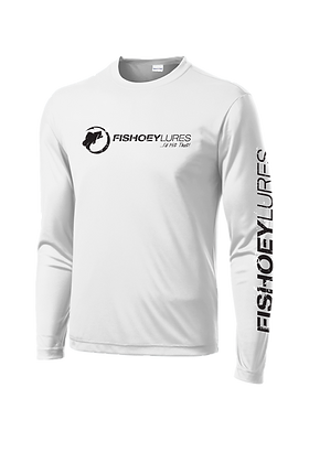 Cooling Performance Dry-Fit - Long Sleeve - White  - Distressed Black Logo