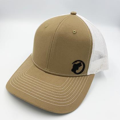 Khaki / White Trucker Style Cap - Leather Logo