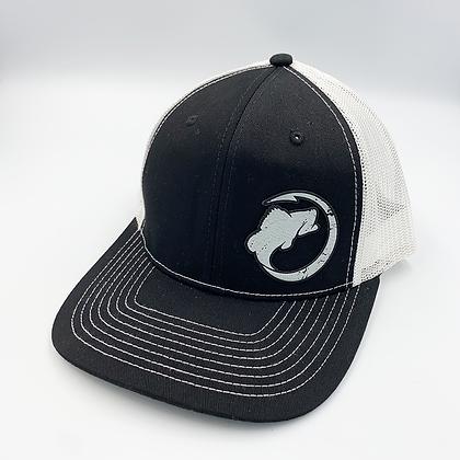 Black / White Trucker Style Cap - Leather Logo